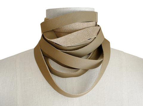 Wrapping,choker,scarf,,taupe,leather scarf.leather choker,wrapping scarf,wrapping choker,layered necklace,minimalist fashion,taupe accessories,non metal jewelry,avant garde fashion,neutral accessories