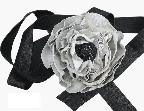 Leather,flower,sash,belt,,ebony,&,ivory,leather flower belt,leather flower sash,black and white belt,black white weddings,bridal belt,rustic wedding sash,steampunk wedding sash,soft leather belt