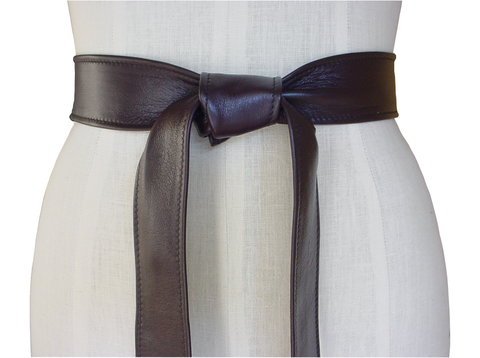 Wardrobe essential lambskin belt, dark brown - product images  of