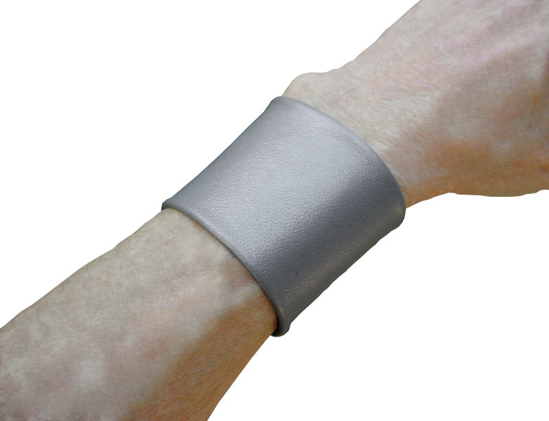 "Essential 2"" wide lambskin cuff, matte silver - product images  of"