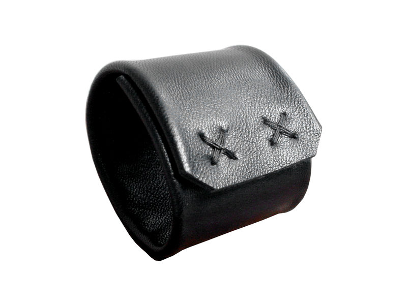 Cross Cuff Black Leather 2 Wide Small