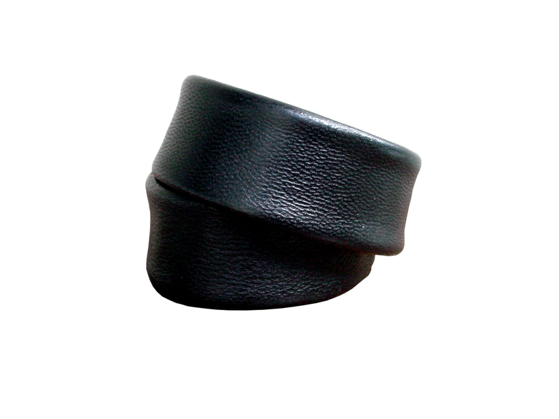 Basic wrap lambskin stud bracelet, black - product images  of