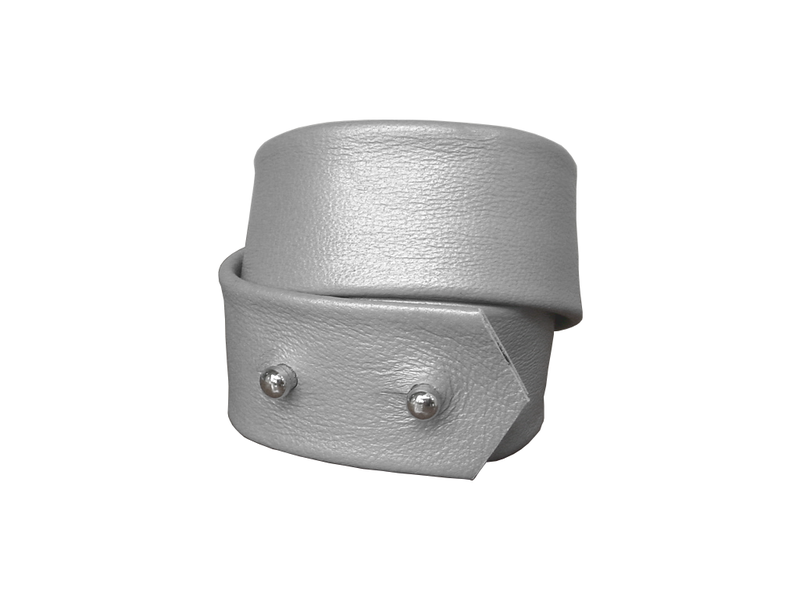 Basic wrap lambskin stud bracelet, matte silver - product images  of