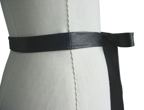 Skinny black leather tie belt - product images  of