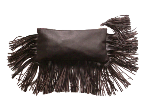 Frangia,zippered,clutch,,dark,brown,leather clutch,everyday bag,handmade leather bag,fringe bag,leather fringe bag,leather fringe clutch,brown leather clutch,brown leather bag,Mano Bello