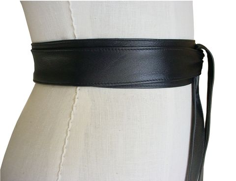 Lambskin narrow obi belt, black - product images  of