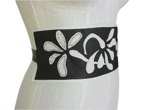 Bespoke,leather,applique,cummerbund,belt,,dark,brown,sale,clearance,leather cummerbund,steampunk wedding, steampunk groom,brown leather belt,wide leather belt,leather flower belt,brown and white floral belt