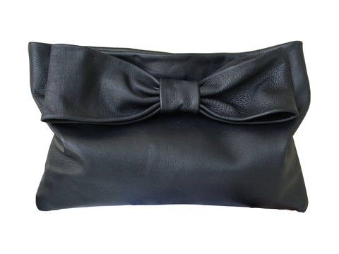 Oversize,leather,bow,clutch,,black,goatskin,black leather bag,handmade leather bag,leather clutch,black leather clutch,bags for women,oversize leather clutch