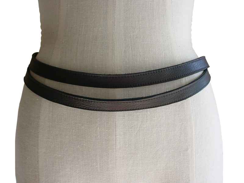 Skinny double wrap belt, black - product images  of