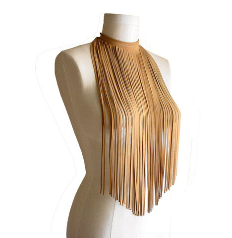 Long,fringe,choker,,suede,lambskin,,camel,leather fringe choker,leather choker,suede fringe choker,leather fringe necklace,fringe necklace,tan,suede fringe necklace,long fringe necklace,statement jewelry,statement necklace,avant gard fashion,cool fashion jewelry,leather jewelry,handmade fas