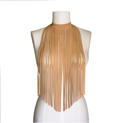 Long fringe choker, suede lambskin, camel - product images  of