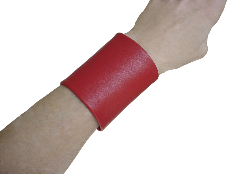 "Essential basic 3"" wide lambskin cuff, red lambskin - product images  of"