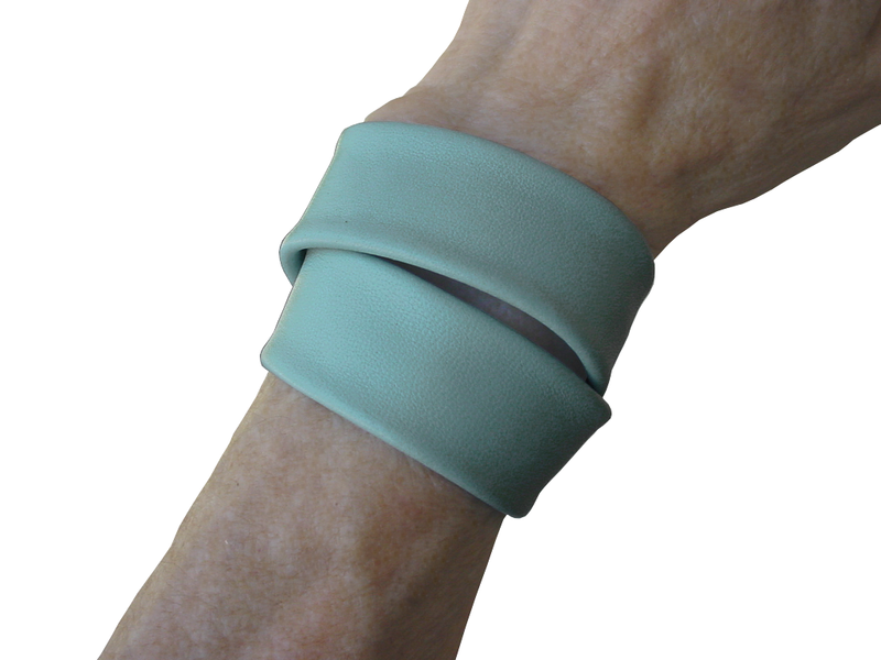 Basic wrap lambskin stud bracelet, powder blue - product images  of