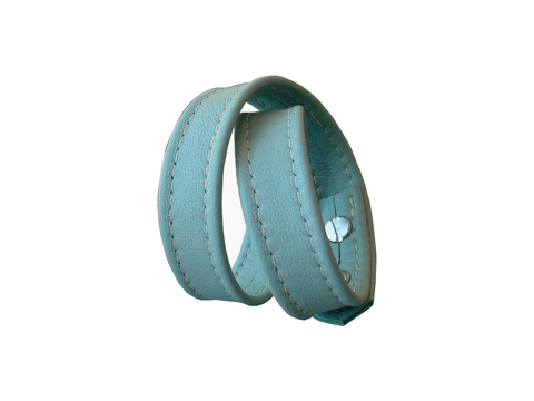 Basic wrap lambskin stud bracelet, stitched, powder blue - product images  of