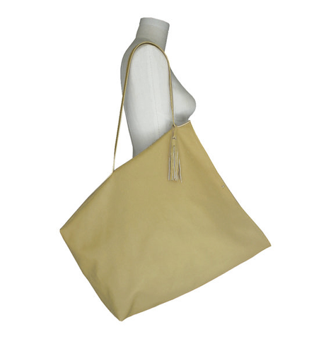 Big,leather,tote,bag,,palomino,goatskin,giant leather tote,big leather tote,large leather tote,Mano Bello,handmade leather bags,indie designer,leather bags,yellow leather tote,palomino leather tote,goatskin tote bag,tote bag
