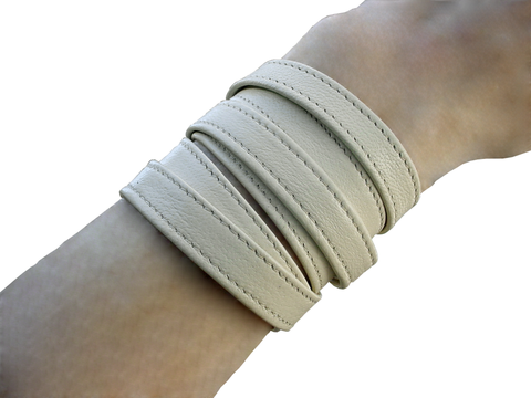 Minimalist 6 wrap bracelet cuff, ivory lamb - product images  of