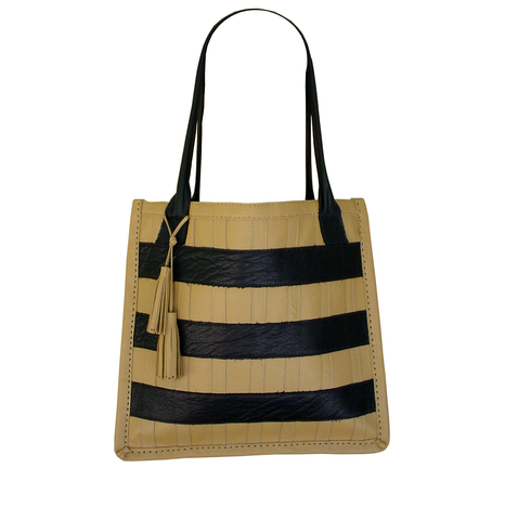 Striped,leather,tote,bag,,black,&,tan,handmade leather bag,leather tote,black and tan,black & tan,striped bag,striped leather bag,mano bello leather,hand stitched leather bag,basic bag,big leather bag,huge leather tote,fashion bag,designer bag,womens leather bag,tan leather tote