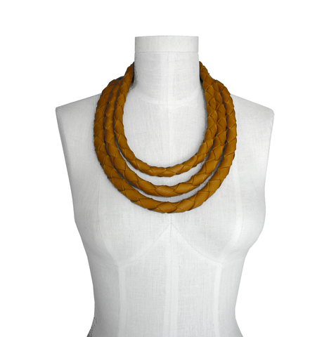 Chunky,braided,necklace,,honey,leather,non metal jewelry,chunky necklace,thick necklace,lightweight jewelry,non metal necklaces,leather jewelry,leather necklaces,braided leather,braided leather necklaces,tan leather necklace,necklace sets,jewelry sets,gifts for women,handmade jewelry,ori