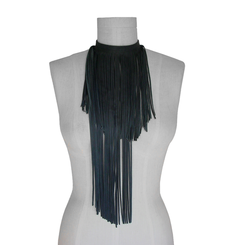 Anthracite leather fringe scarf, grey lambskin  - product images  of