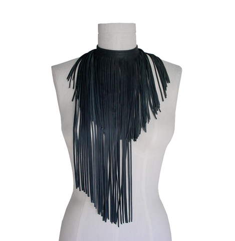 Anthracite,leather,fringe,scarf,,grey,lambskin,Mano Bello,ManoBello,leather fringe scarf,leather fringe choker,leather fringe necklace,gray leather fringe,gray fringe necklace,handmade jewelry,leather scarf,leather choker necklace,womens leather chokers,women leather scarves,gray scarf,artisan necklac