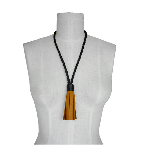 Tassel Necklace on braided rope, goatskin leather, black & tan - product images  of