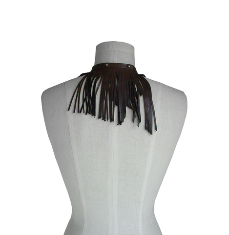 Leather fringe choker necklace, brown goatskin - product images  of