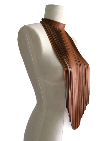 Long fringe bib choker, chestnut lambskin - product images  of