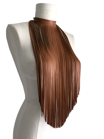 Long,fringe,bib,choker,,chestnut,lambskin,necklace,choker,leather,women,fashion,style,chokers for women,tribal,costume,performing,stage,rock and roll,biker women,leather fringe,handmade,brown leather choker,statement necklace,leather scarf