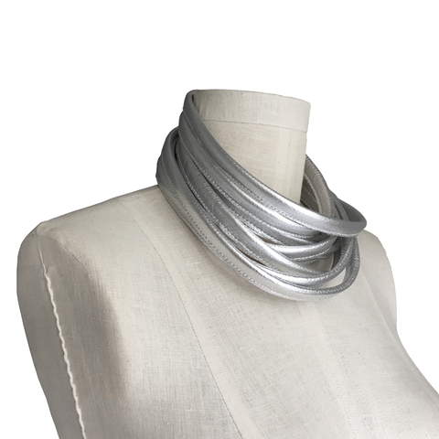 Wrapping leather choker, silver cowhide - product images  of
