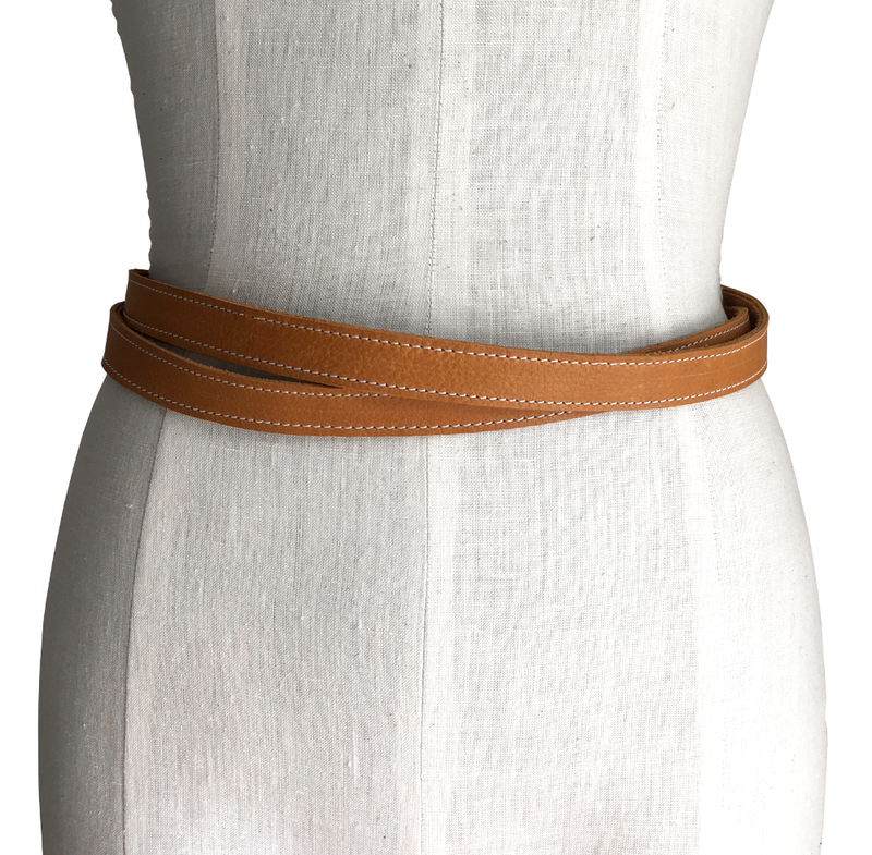 Skinny double wrapping belt, honey  - product images  of