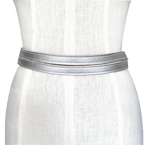 Skinny double wrapping belt, silver - product images  of