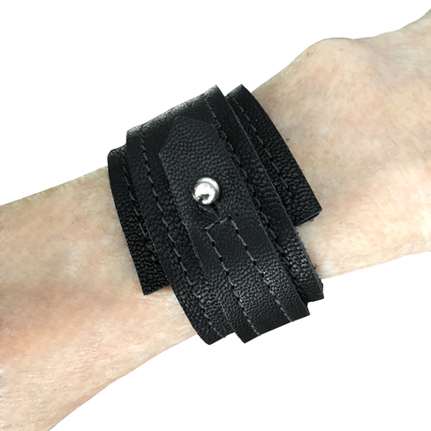 Layered wedge bracelet, black goatskin - product images  of