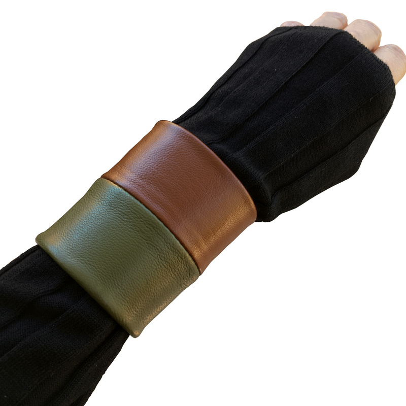 Wide Cuff bracelet, olive and cognac lambskin - product images  of