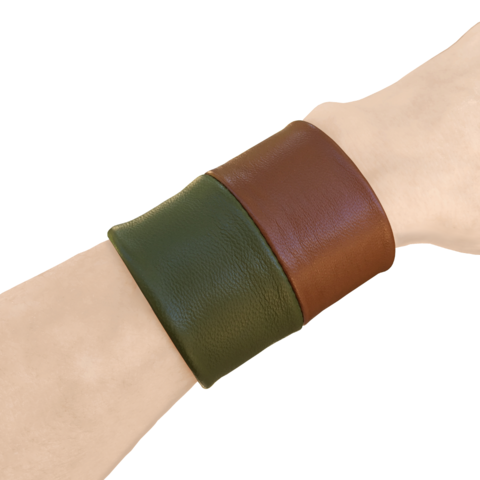 Two tone leather tie belt, olive and cognac lambskin - product images  of