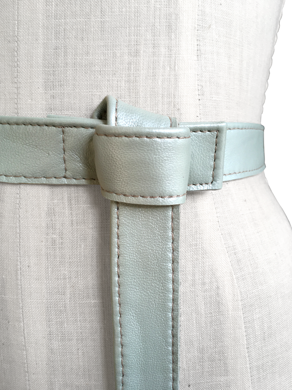 Lambskin tab belt, iced seafoam - product images  of