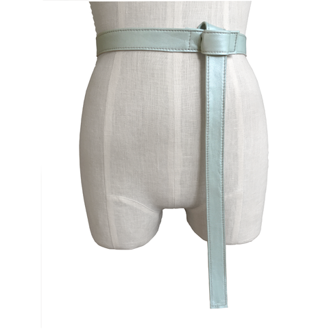 Lambskin,tab,belt,,iced,seafoam,Mano Bello, manobello, leather belts for women, leather belts, fashion belts for women, seafoam leather belt, blue leather belt, green leather belt, goes with Acne Studios, trending fashion accessories, lambskin belt, fine leather belts