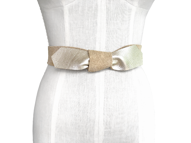 Raw leather bow strap, gold Lena belt - product images  of