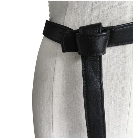 Lambskin tab belt, black - product images  of