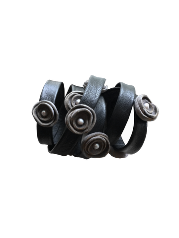 Wrapping,flower,bracelet,,black,&,grey,lambskin,biker bracelet,goth bracelet,glunge cuff,black leather bracelet,wrapping bracelet,flower bracelet,bridesmaid bracelet,serious flowers,mano bello,black jewelry,leather bracelet,black and grey,lambskin bracelet,leather cuff,women leather,goth fashion,black