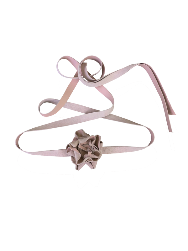 Blush leather flower belt, pink lambskin - product images  of