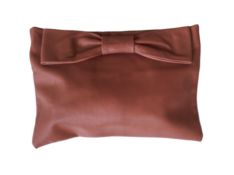 Oversize leather bow clutch, tobacco goatskin - product images  of