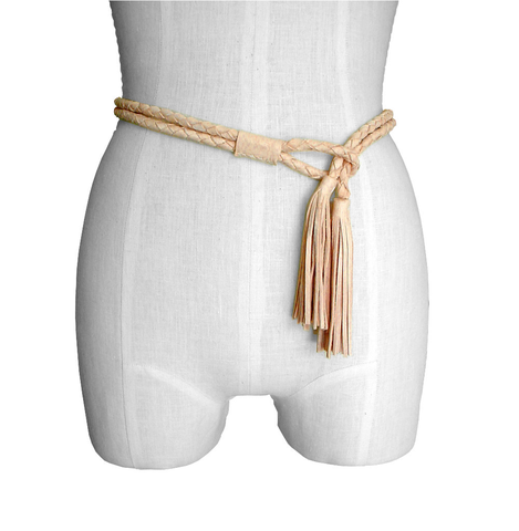 Braided rope tassel necklace, nude - product images  of