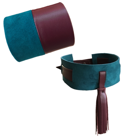 Two tone leather cuff or choker, turquoise & burgundy lambskin - product images  of