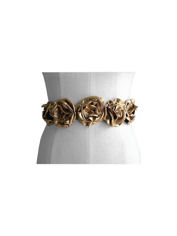 Gold,leather,flower,wedding,dress,sash,,foil,metallic,lambskin,ManoBello,Mano Bello,bespoke wedding dress belt,leather flower belt,wedding dress sash,alternative wedding accessories,one of a kind wedding,gold leather flower belt,handmade leather flowers,artisan accessories,artisan weddings,women