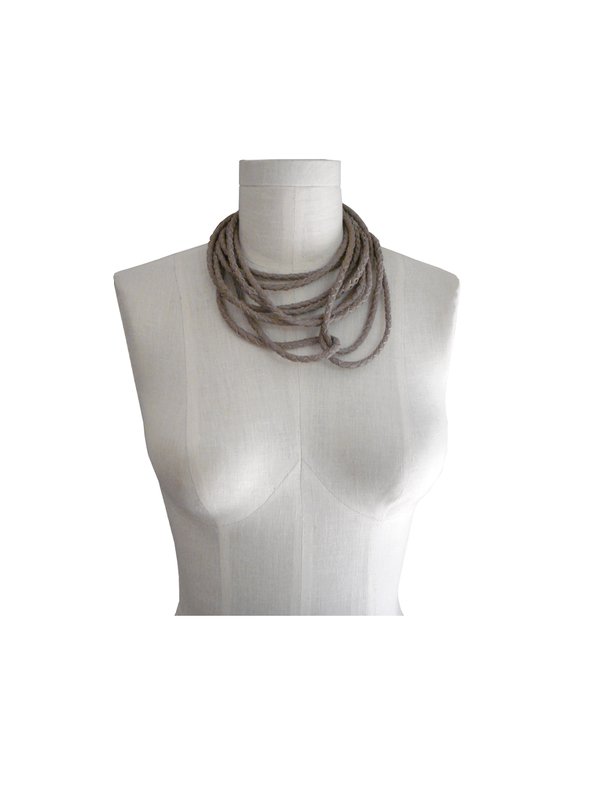 Braided leather choker necklace, taupe lambskin - product images  of