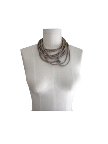 Braided,leather,choker,necklace,,taupe,lambskin,neutral fashion,taupe leather necklace,Mano Bello leather,manobello leather,leather necklace,leather choker,braided leather necklace,braided leather choker,avant garde accessories,avant garde necklace,brown necklace,brown leather choker,wrapping necklace