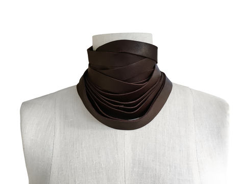 Wrapping,leather,choker,scarf,,chocolate,brown,leather scarf.leather choker,wrapping scarf,wrapping choker,layered necklace,minimalist fashion,taupe accessories,non metal jewelry,avant garde fashion,neutral accessories