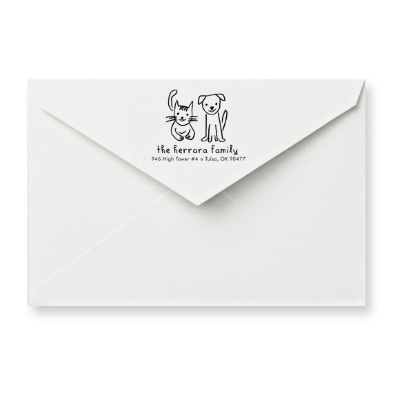 Cat and Dog Friends Address Stamp (choice of 3 styles) - product image