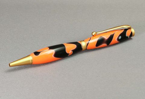 Acrylic,Black,and,Orange,Pen,handmade, handcrafted, pen, ballpoint, cross