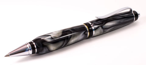 Black,and,Silver,Acrylic,Click,Cigar,Pen,acrylic, black, gray, silver, click, cigar, pen, pens, handmade, hand made, handcrafted, hand crafted, writing pen, writing pens